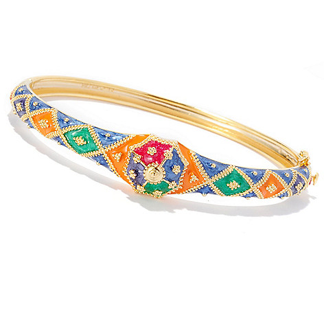 127-816 - Jaipur Bazaar Gold Embraced™ Multi Colored Enamel Hinged Bangle Bracelet