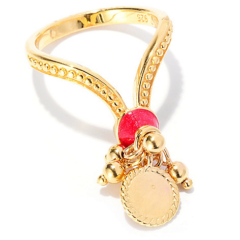 127-817 - Jaipur Bazaar Gold Embraced™ Red Enamel Bead & Charm Dangle Ring
