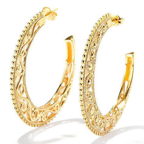 127-819 - Jaipur Bazaar 18K Gold Embraced™ 1.75'' Ornate Textured Hoop Earrings