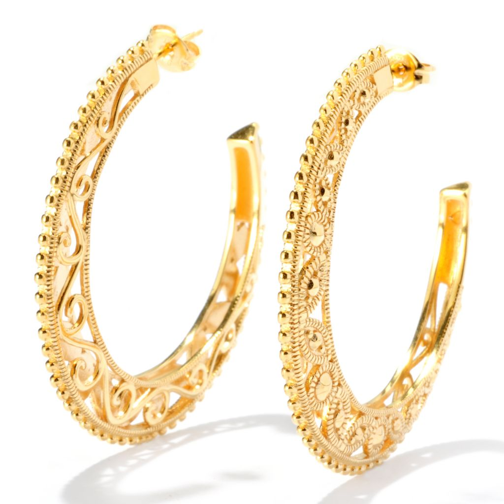 "127-819 - Jaipur Bazaar 18K Gold Embraced™ 1.75"" Ornate Textured Hoop Earrings"