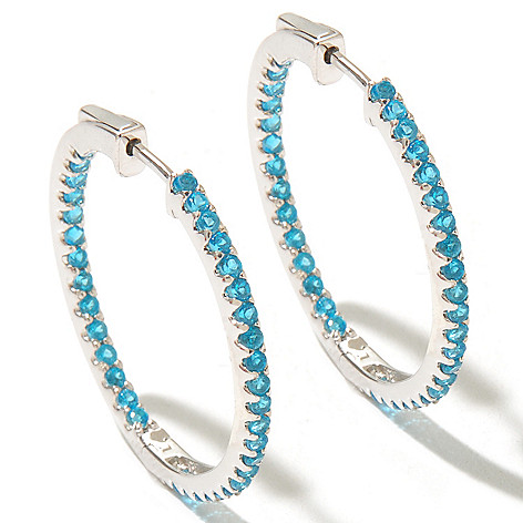 127-835 - Gem Treasures Sterling Silver 2.34ctw Apatite Inside-Out Hoop Earrings