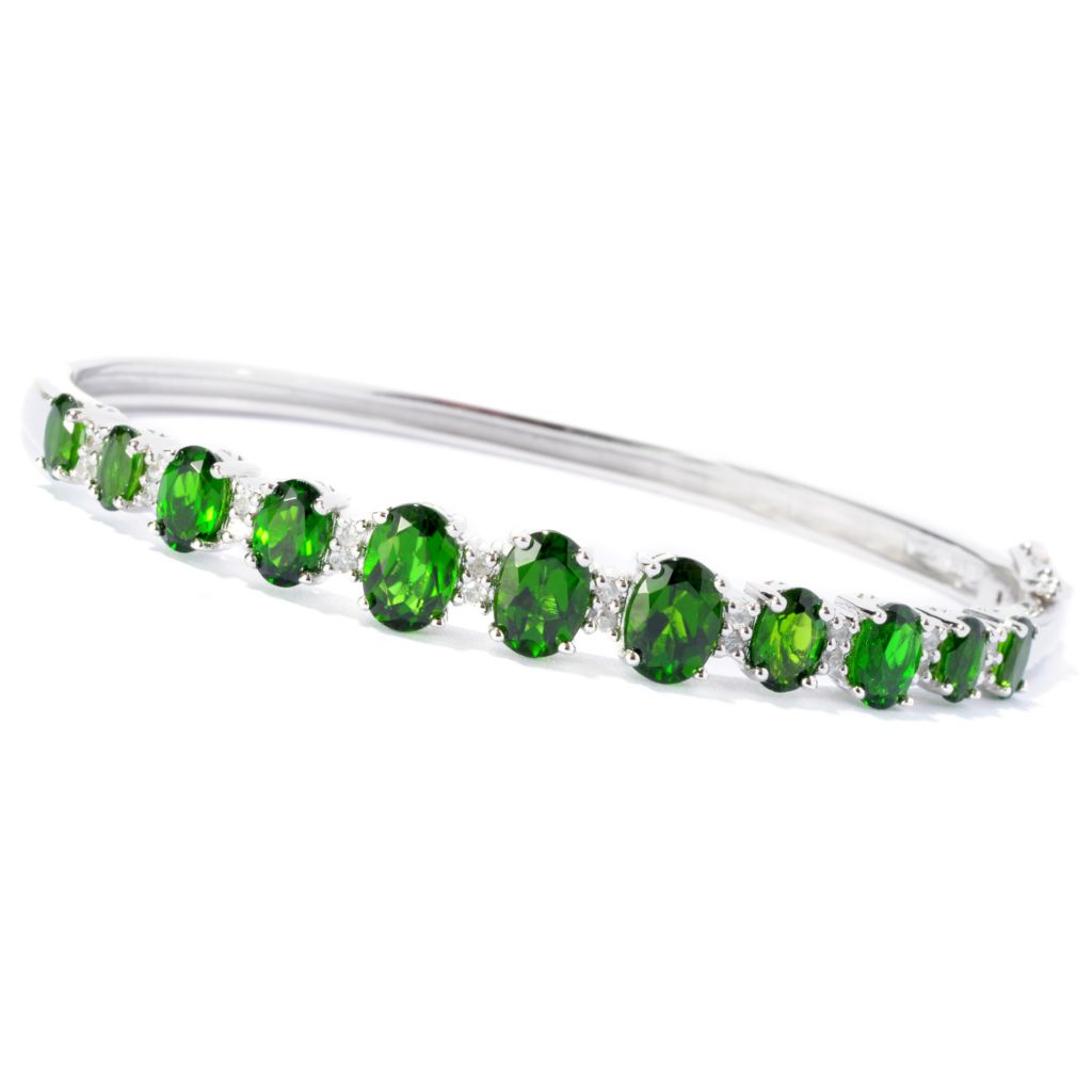 127-842 - NYC II 6.05ctw Chrome Diopside & White Zircon Hinged Bangle Bracelet