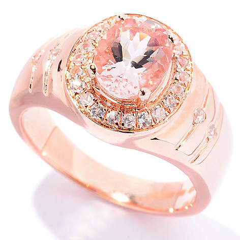127-854 - NYC II 1.33ctw Morganite & White Zircon Halo Ring