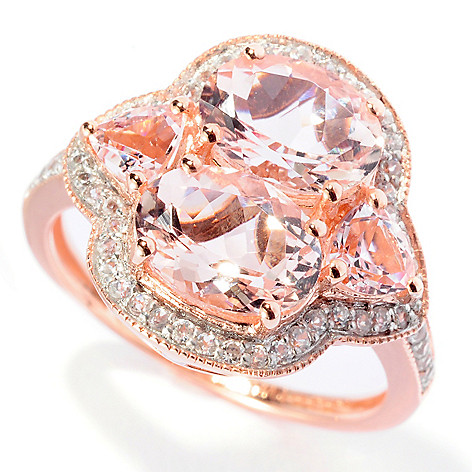 127-855 - NYC II 2.83ctw Dual Shaped Morganite & White Zircon Ring