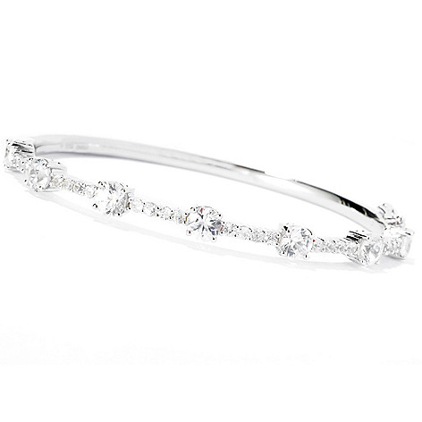 127-858 - NYC II 6.50ctw White Zircon Hinged Bangle Bracelet