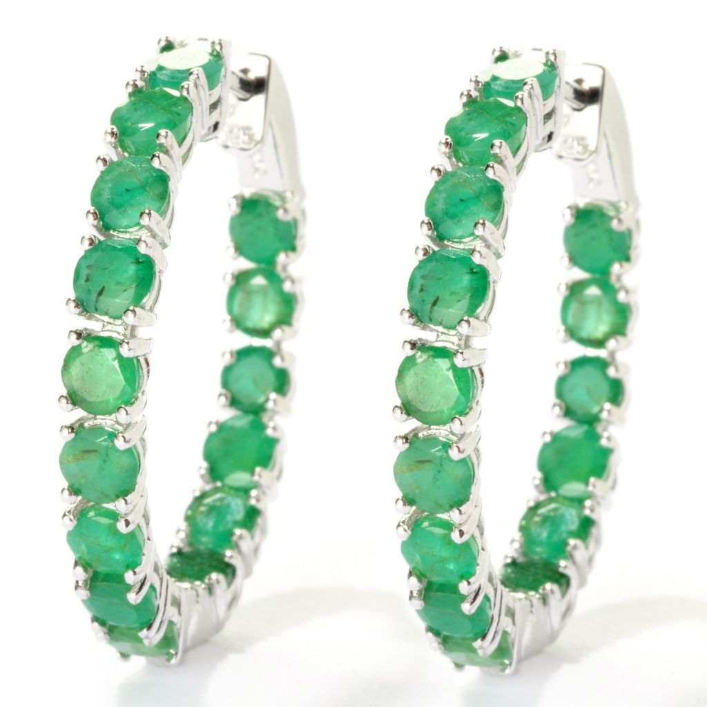 "127-861 - NYC II 1.25"" 7.88ctw Sakota Emerald Inside-Out Hoop Earrings"