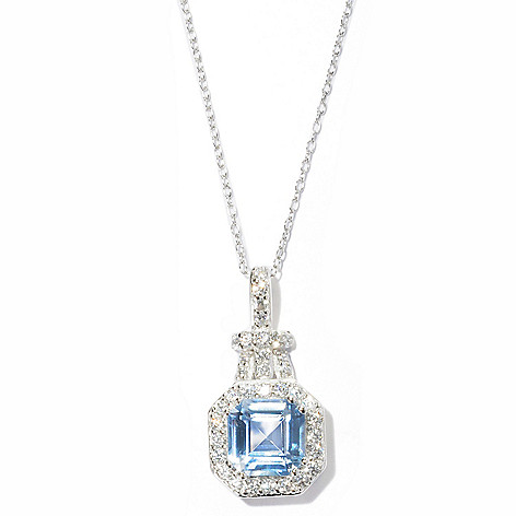 127-866 - Brilliante® Platinum Embraced™ 2.73 DEW Asscher Cut Simulated Diamond Halo Pendant w/ Chain