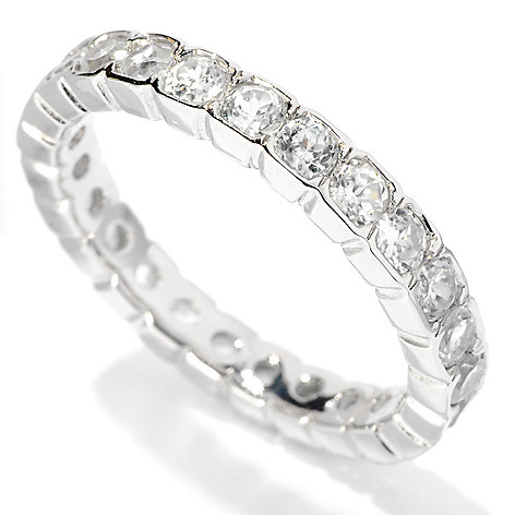 127-873 - Gem Treasures® Sterling Silver Bezel Set Colored Zircon Eternity Band Ring