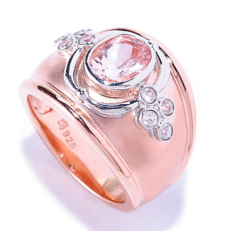 127-885 - NYC II™ 1.03ctw Morganite & White Zircon Cigar Band Ring