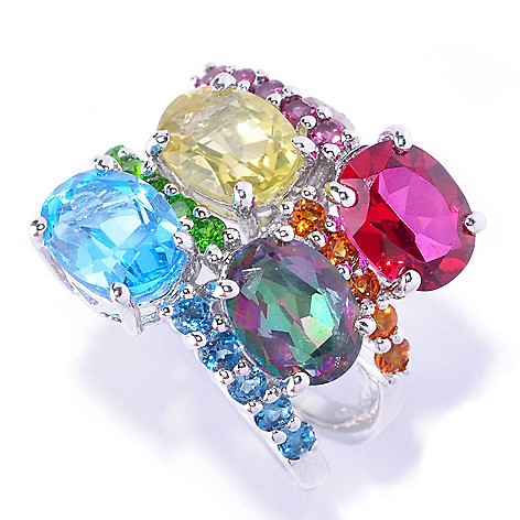 127-886 - NYC II 5.04ctw Multi Gemstone Four-Row Scatter Ring