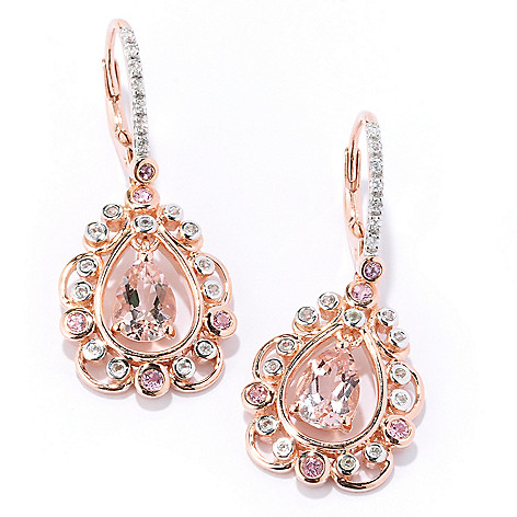 127-887 - NYC II 2.16ctw Morganite, White Zircon & Pink Tourmaline Teardrop Earrings