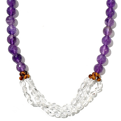 127-889 - Gem Treasures Sterling Silver 18'' Amethyst, Tiger Eye & Crystal Necklace w/ 2'' Extender