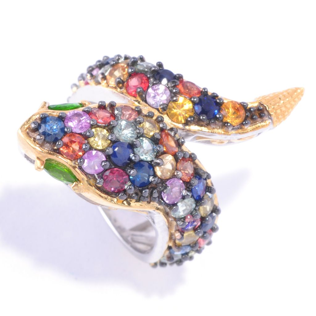 127-893 - Gems en Vogue II 4.08ctw Multi Sapphire & Chrome Diopside Snake Ring