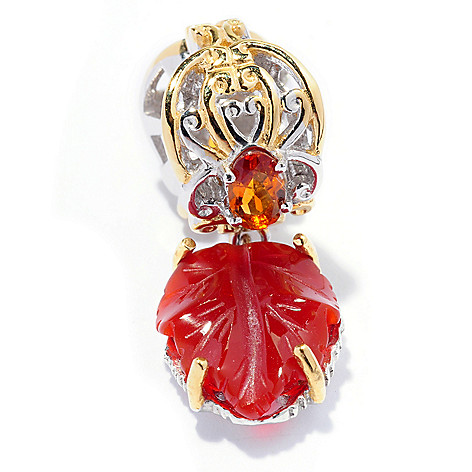 127-910 - Gems en Vogue II 12 x 10mm Carved Carnelian & Madeira Citrine Leaf Charm