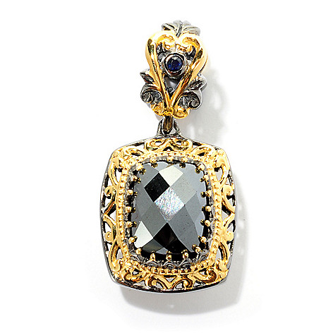 127-911 - Gems en Vogue 10 x 8mm Hematite and Sapphire Drop Charm