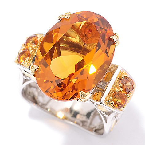 127-914 - Gems en Vogue 10.40ctw Madeira Citrine and Orange Sapphire Ring