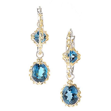 127-927 - Gems en Vogue 2'' 14.54ctw London Blue Topaz Double Drop Hoop Earrings