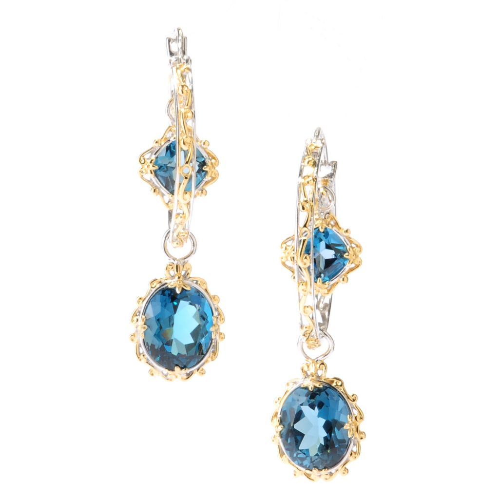 "127-927 - Gems en Vogue II 2"" 14.54ctw London Blue Topaz Drop Hoop Earrings"