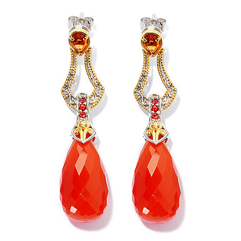 127-930 - Gems en Vogue II 24 x 12mm Carnelian and Multi Gemstone Drop Earrings