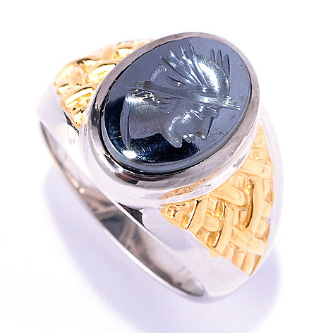 127-938 - Men's en Vogue II 14 x 10mm Hematite Hand-Carved Knight's Head Ring