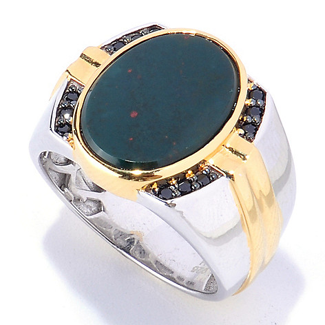 127-939 - Men's en Vogue 16 x 12mm Bloodstone & Black Spinel Ring