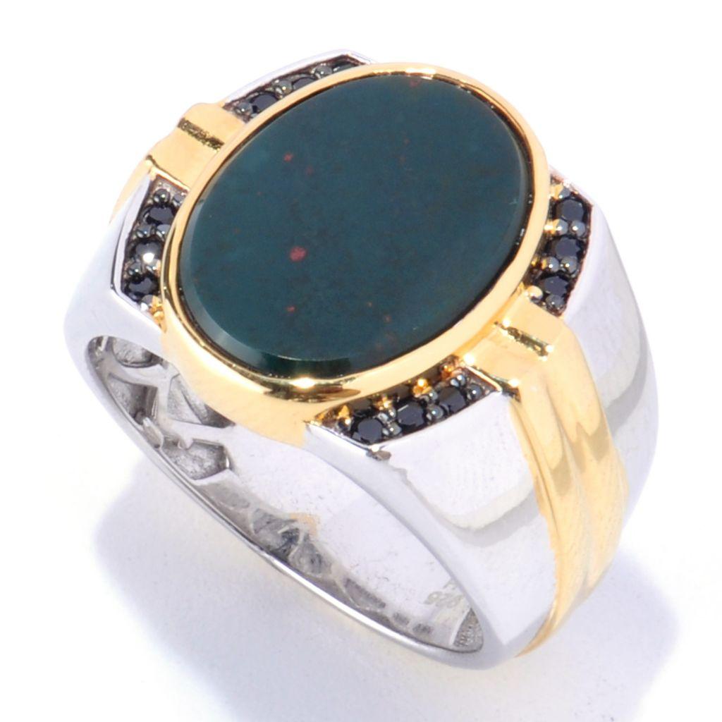127-939 - Men's en Vogue 16 x 12mm Bloodstone & Black Spinel Ring