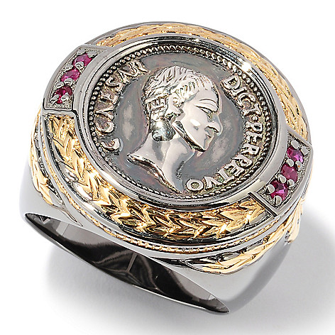 127-942 - Men's en Vogue II Ruby & Sculpted Coin Design Ring