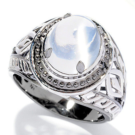 127-947 - Men's en Vogue II 12 x 10mm Moonstone & Black Diamond Ring
