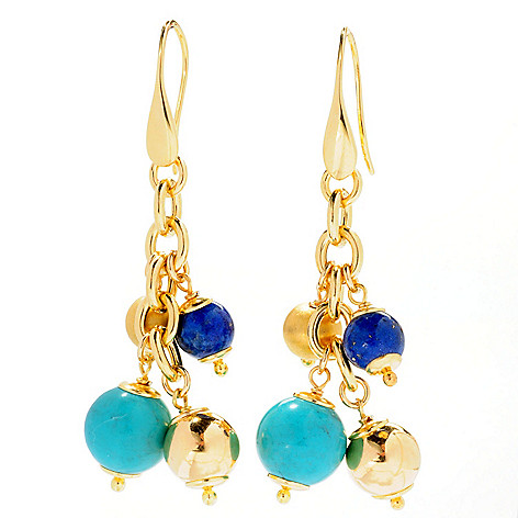 127-958 - Portofino 18K Gold Embraced™ 2.5'' Turquoise & Lapis Bead Dangle Earrings