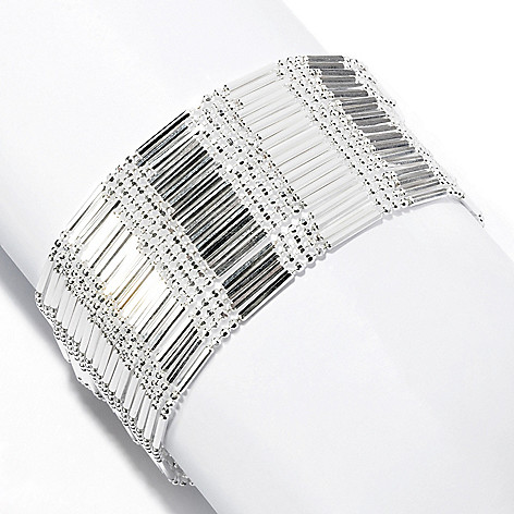 127-973 - SempreSilver® Multi Strand Bar & Bead Bracelet