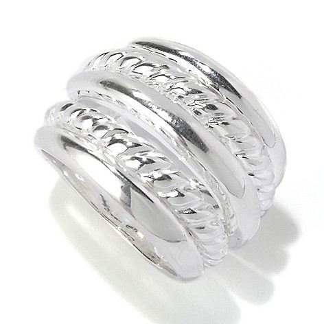 127-987 - SempreSilver® Polished & Textured Connected Five-Row Ring