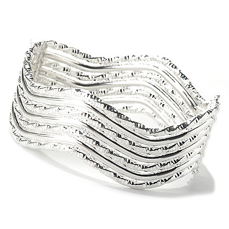 127-991 - SempreSilver® Diamond Cut & Polished Wavy Hinged Cuff Bracelet