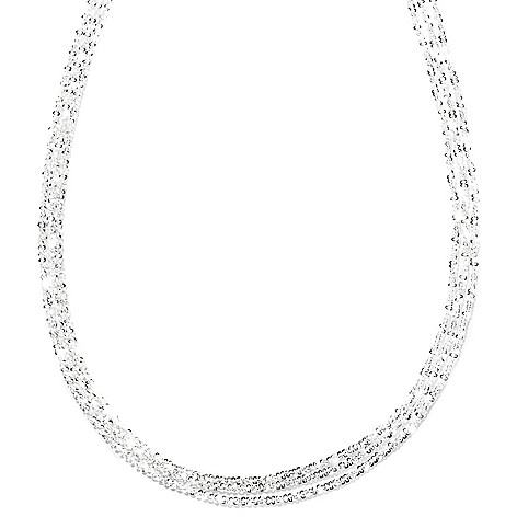 127-995 - SempreSilver® 16'' Multi Strand Margherita Chain Necklace