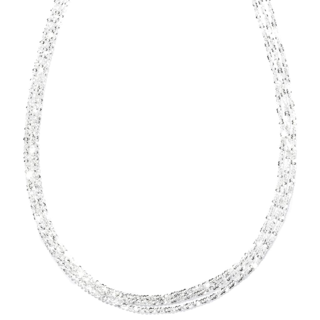 "127-995 - SempreSilver® 16"" Multi Strand Margherita Chain Necklace"