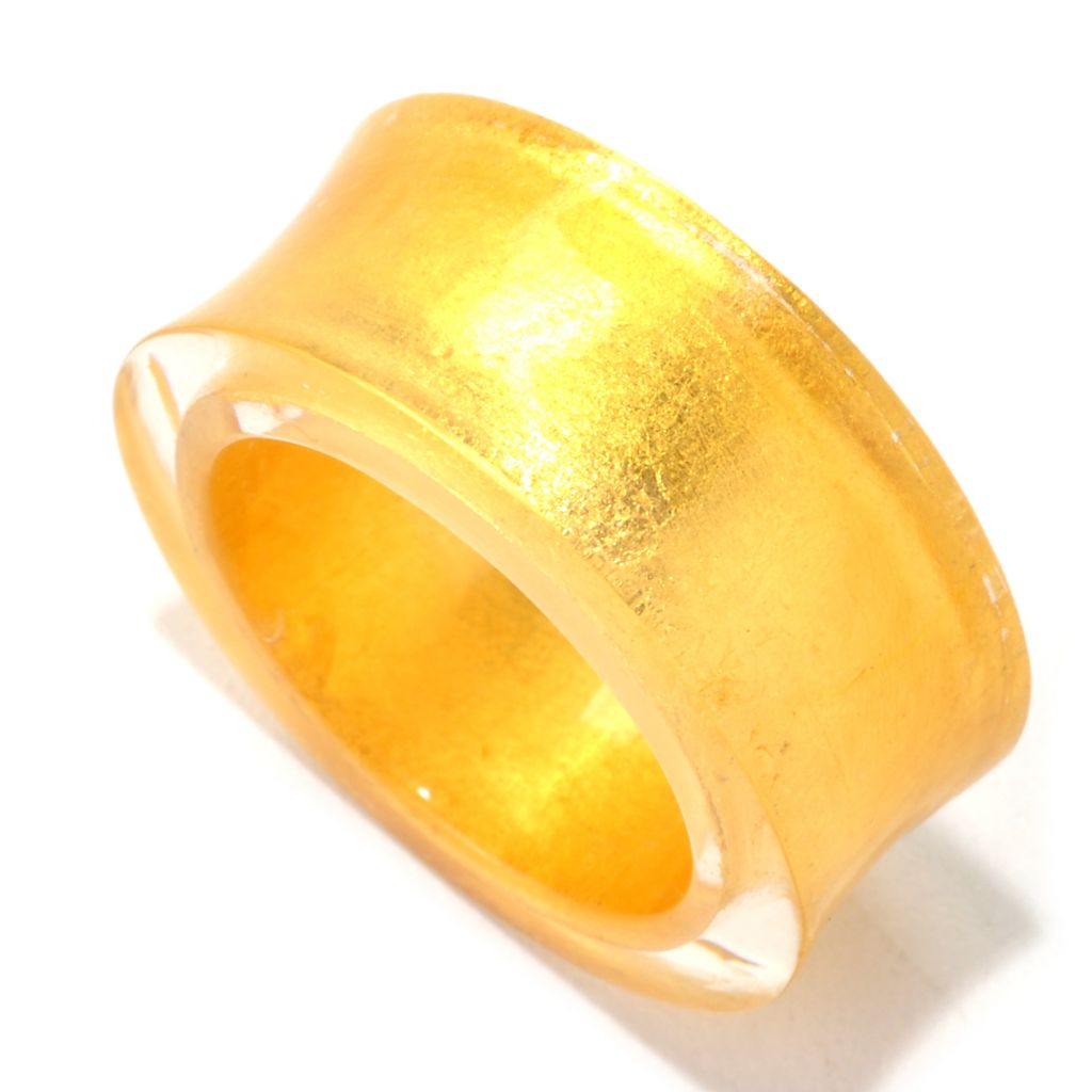 "128-002 - Italian Designs with Stefano 24K ""Oro Puro"" Gold Foil & Resin Concave Ring"