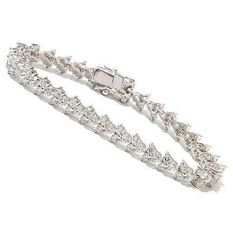 128-024 - Brilliante® Platinum Embraced™ Three-Stone Simulated Diamond Line Bracelet