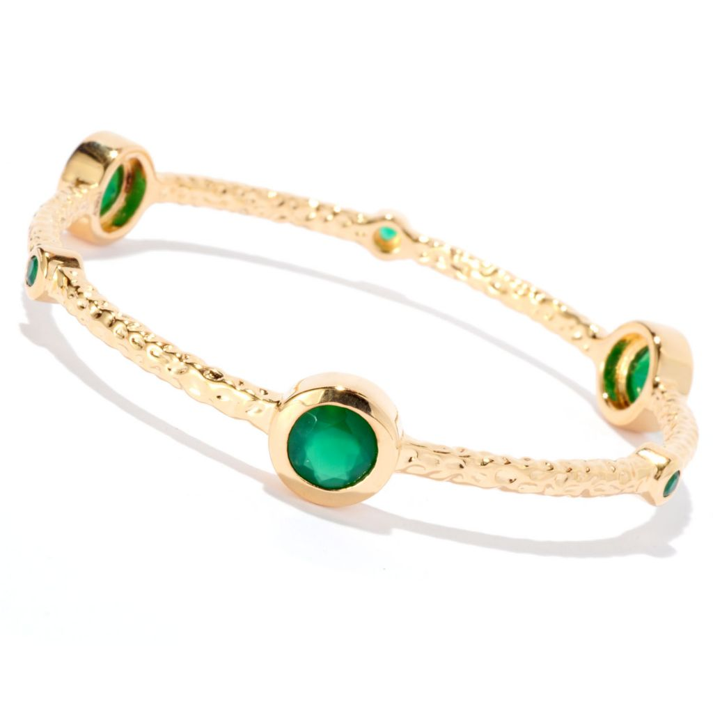 "128-079 - Toscana Italiana 18K Gold Embraced™ 8"" Green Agate Slip-on Bangle Bracelet"