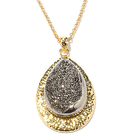 128-083 - Toscana Italiana 18K Gold Embraced™ 33 x 23mm Drusy Teardrop Pendant w/ Chain