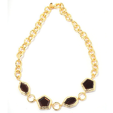 128-085 - Toscana Italiana Gold Embraced™ 18'' Smoky Quartz Martellato Link Necklace