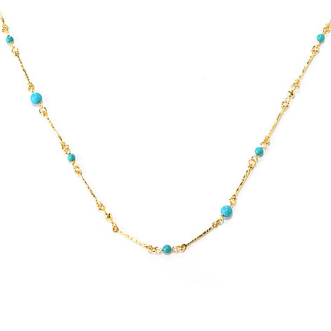 128-086 - Toscana Italiana 18K Gold Embraced™ 60'' Turquoise Bead Martellato Link Station Necklace