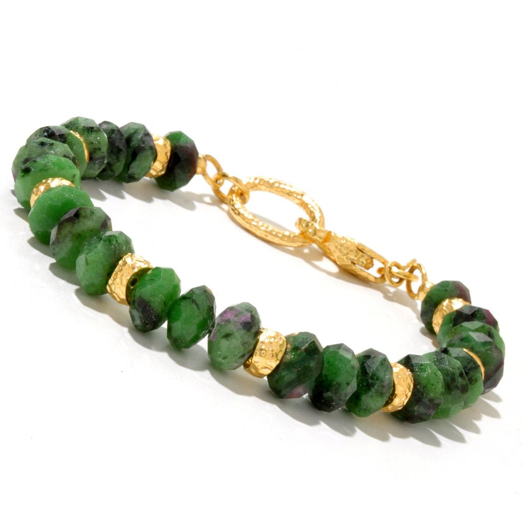 128-087 - Toscana Italiana 18K Gold Embraced™ Ruby Zoisite Hammered Rondelle Station Bracelet