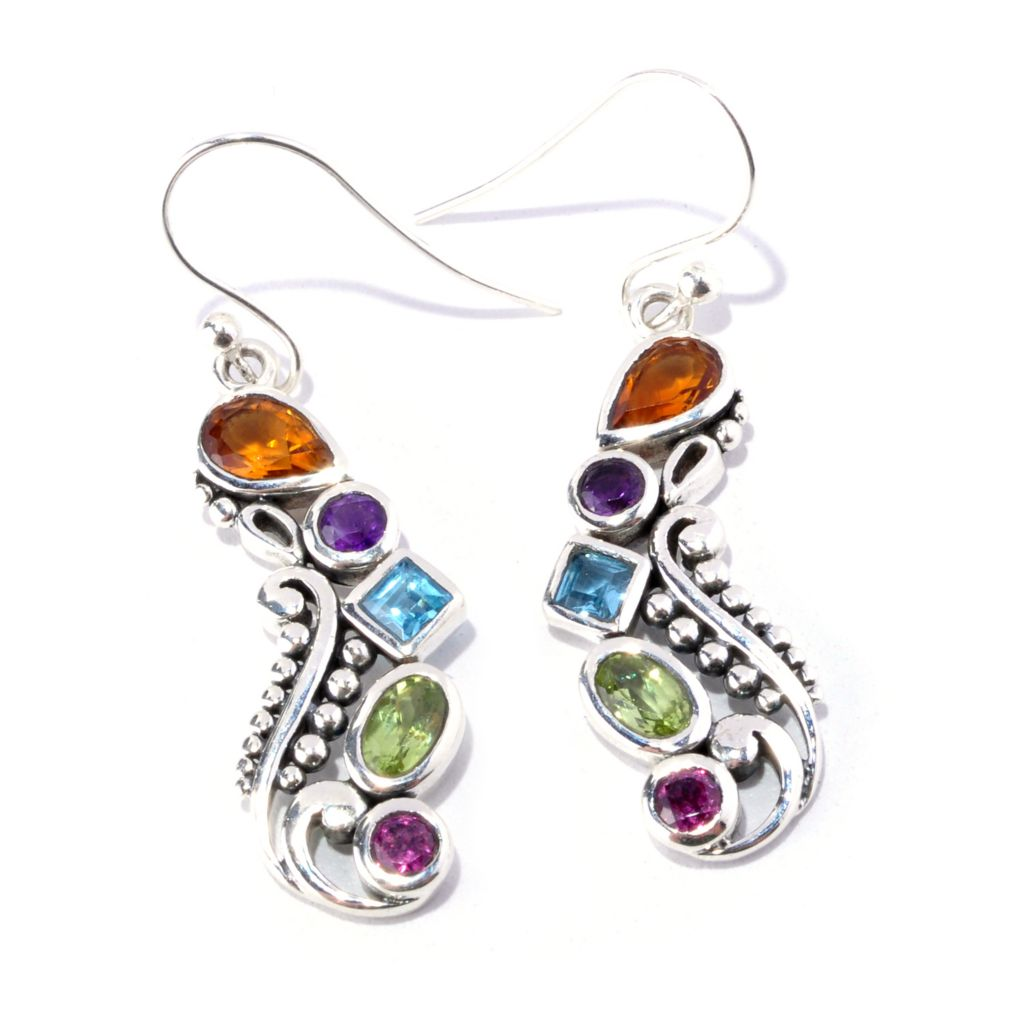 128-089 - Artisan Silver by Samuel B. 1.60ctw Multi Gemstone Drop Earrings