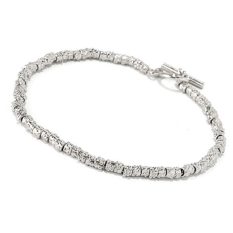 128-105 - Palatino™ Platinum Embraced™ Textured Beaded Toggle Bracelet