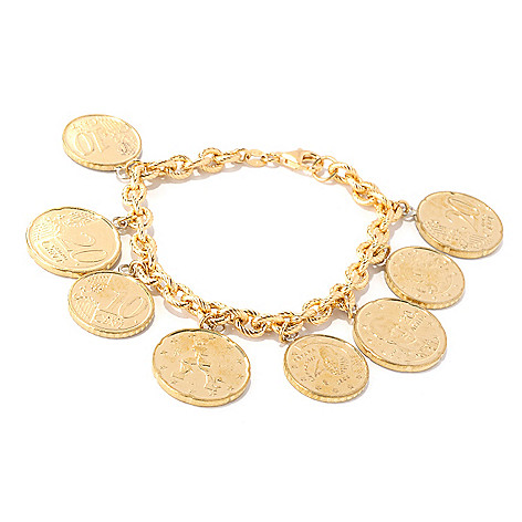 128-119 - Portofino Gold Embraced™ 8'' Twisted Rolo Euro Charm Bracelet
