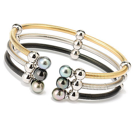 128-125 - Stainless Steel 7.25'' 7-8mm Tahitian Cultured Pearl Triple Row Cuff Bracelet