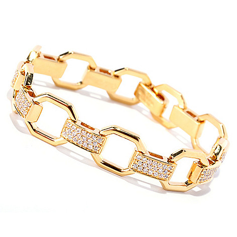 128-131 - Sonia Bitton Polished Round Cut Simulated Diamond Pave Link Bracelet