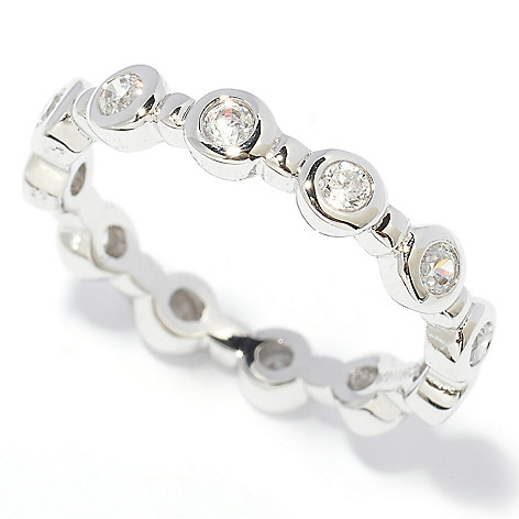 128-133 - Brilliante® Polished Round Bezel Set Simulated Diamond Eternity Band Ring