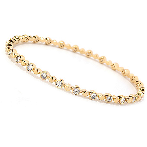 128-135 - Sonia Bitton Round Cut Bezel Set Slip-on Simulated Diamond Bangle Bracelet