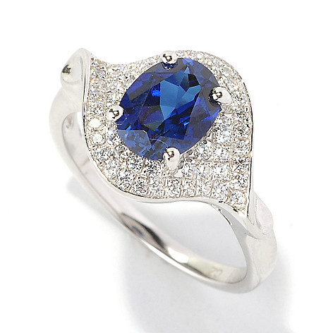 128-141 - Brilliante® Platinum Embraced™ 1.71 DEW Brilliant Cut Blue & White Simulated Diamond Ring