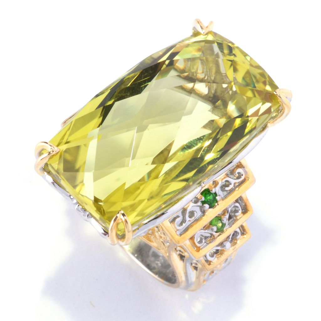 128-143 - Gems en Vogue 30.12ctw Ouro Verde & Chrome Diopside Ring